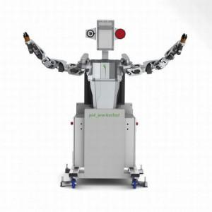 Немецкий робот улыбается, когда ему дают новую работу